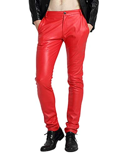 Idopy Men`s Pu Motorcycle Party Holiday Performance Faux Leather Pants Jeans Red 30