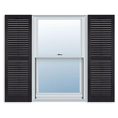 Amazon Com Ekena Millwork Ll1s14x04800bl Lifetime Vinyl Standard Shutter Per Pair 14 1 2 W X 48 H Black Home Improvement
