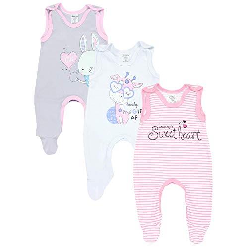 TupTam Baby Mädchen Strampler mit Aufdruck Spruch 3er Pack, Farbe: Farbenmix 1, Größe: 74