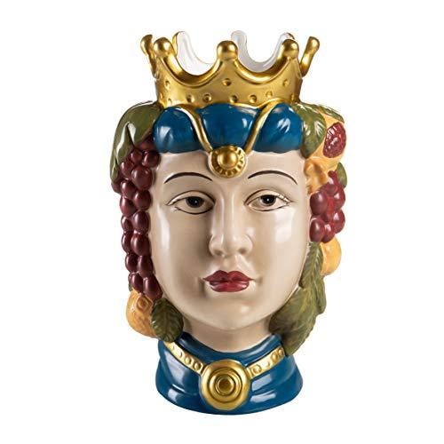 Baroni Home Kopf di Moro aus Porzellan, Sizilianischer Stil mit Krone, für den Innenbereich, farbige Königin, 14 x 14 x 22 cm