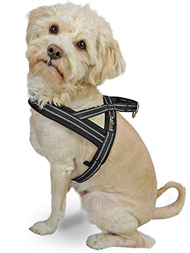 Dog Harness Easy Walk for Small Dogs Pug Life with Easy On and Off Reflective Vest Padded Adjustable Gentle Lead(Black,XS)