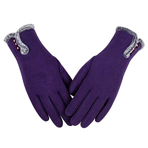 Womens Winter Warm Gloves With Sensitive Touch Screen Texting Fingers, Fleece Lined Windproof Gloves (Purple-M)