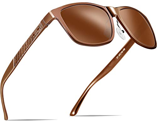 ATTCL Herren Polarisierte Fahren Sonnenbrille Al-Mg Metall Rahme Ultra Leicht 8587-brown