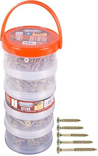 Connex Universalschrauben-Sortiment 480-teilig - Diverse Größen in Stapelbox - Senkkopf - PZ Pozidriv-Antrieb - Voll- & Teilgewinde - Gelb verzinkt / Schrauben-Set / Schrauben-Box / B30304