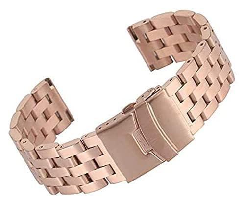 FETTR Correa para reloj de 20/22 mm, color plateado, negro, dorado, oro rosa, acero inoxidable sólido, correa de acero inoxidable, cierre plegable con seguridad (color 22 mm, tamaño: negro)