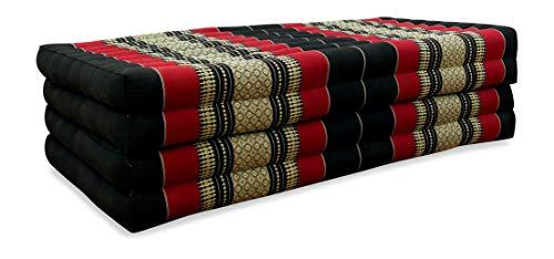 livasia Klappmatratze extrabreit (195cm x 110cm) aus Kapok, Faltbare Gästematratze, klappbare Matratze, asiatische Faltmatratze (schwarz/rot)
