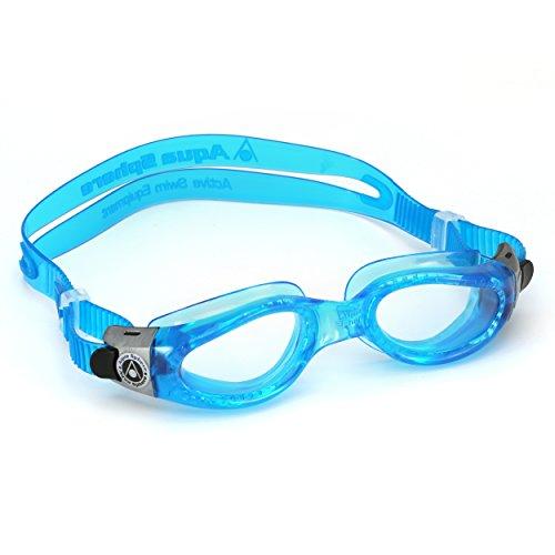Aqua Sphere Kaiman-Schwimmbrille, ideal zum Schwimmen und für Wassersport, Blauer Rahmen