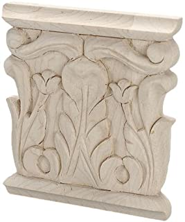 3-7/8 in. x 3-3/4 in. x 5/8 in. Unfinished Hand Carved American Hard Maple Acanthus Wood Onlay Capital Wood Applique