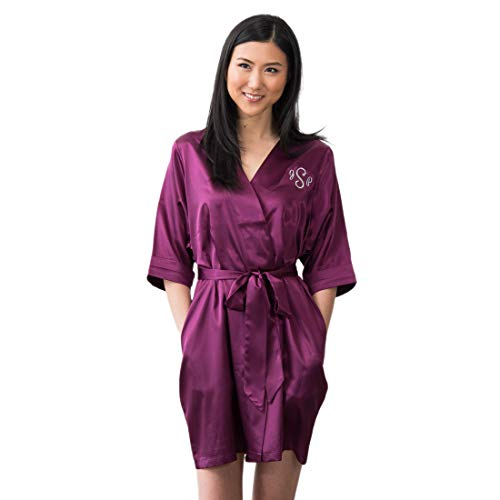 Weddingstar Inc. Women's Personalized Satin Robe with Pockets - Plum Purple Small/Medium