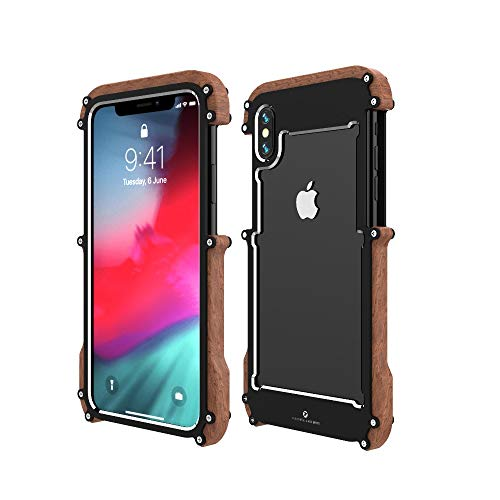 iPhone Xs Max Wood Metal Frame Case,Drop Protection Ultra Thin Aluminum Metal Cover Protective Case Shockproof Dropproof Bumper Frame for Apple iPhone Xs Max 6.5inch 2018 (Black)