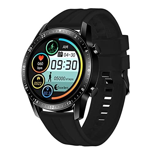 FZXL IP67 Reloj inteligente impermeable Fitness Pulsera inteligente Monitor de presión arterial Monitor de salud Smartwatch Pulsera deportiva para hombres y mujeres (correa de cuero, negro)