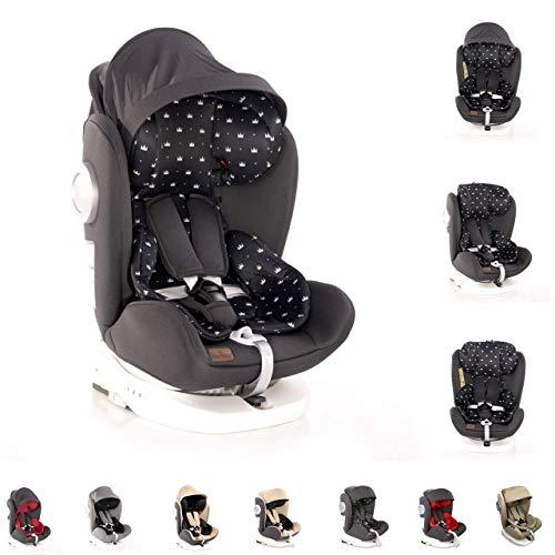 Asiento infantil Lorelli Lusso, SPS, Isofix, grupo 0+/1/2/3, (0-36 kg), asiento giratorio, color:corona negra
