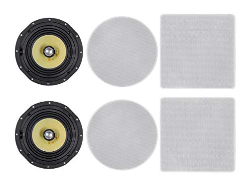 Affordable Monoprice 2-Way Fiber in-Ceiling Speakers - 8 Inch (Pair) Snap Lock with Magnetic Grille ...