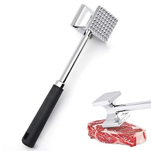 XunHe Fleischklopfer, Doppelseitig Fleischhammer Edelstahl, Steak Hammer Fleischklopfer Hammer, Hammer zum Klopfen von Fleisch für Schnitzel spülmaschinengeeignet (Silver) (Schwarz)