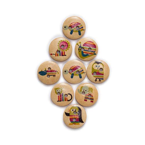 KGDUYH Fashion 50pcs Cute Animal Printing Round Wood buttons Sewing Scrapbook Clothing Gifts Crafts Handwork Accessories Jacket Blazer 15mm for Clothing and Decoration (Color : Natural Base)