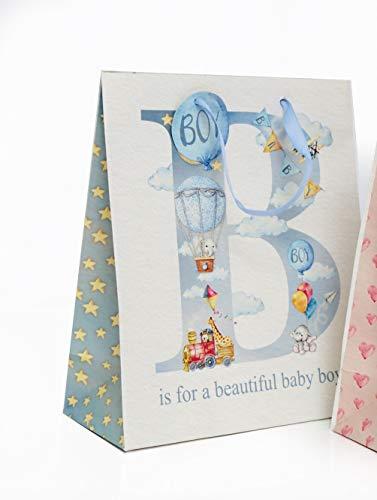 Bezaubernde Geschenktüte Geschenktasche Baby - ideal zur Geburt oder Taufe - 23 x 19 cm (Blau)