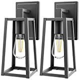 Sunco Lighting Cage Wall Sconce, Matte Black, Clear Glass Shade, Dimmable, Indoor/Outdoor Lantern, Warm White Filament Bulb Included (E26 Base), Waterproof, Suitable for Porch, Patio, Entryway