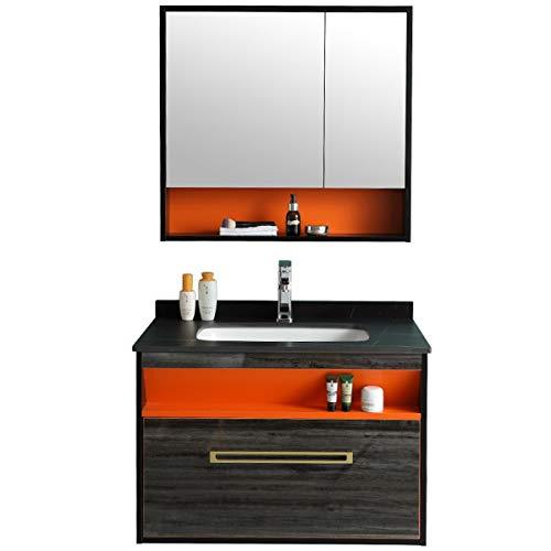 ZoSiP Mueble Lavabo y Mueble Espejo Conjunto de gabinete de baño Simple...