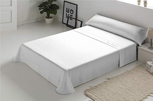 Pierre Cardin - Juego de sábanas Arcadia 100% Algodón - Cama 105 - Color Blanco