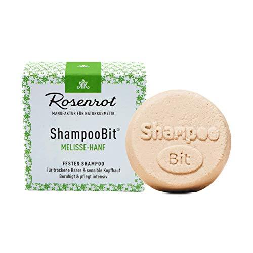 Rosenrot Naturkosmetik - ShampooBit® - festes Shampoo Melisse-Hanf - 55g - Für trockene Haare & sensible Kopfhaut - Beruhigt und pflegt intensiv