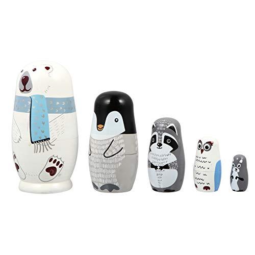 EXCEART 1 juego de 5 capas de madera, muñecas rusas, oso polar, pingüino, búho, matrioska, juguete para vacaciones, Navidad, niños, fiesta
