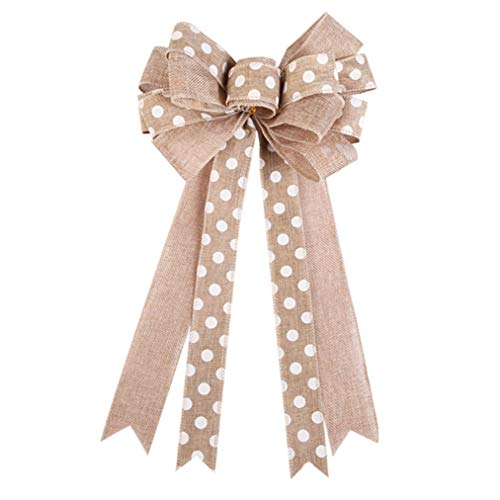 Sevenfly Rustic Wreath Bow Burlap Polka Dot Bowknot Bow Tie Ornaments Christmas Tree Decoration Hangs(Beige)