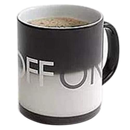 JUNMAONO 400ml ON/Off Verfärbung Becher Tasse Frühstückstassen Keramiktasse Kaffeepott Kaffeetassen Kakaotasse Kaffeebecher Tee Porzellan Schüssel Glas für Kaffee Milch Wasser Trinken