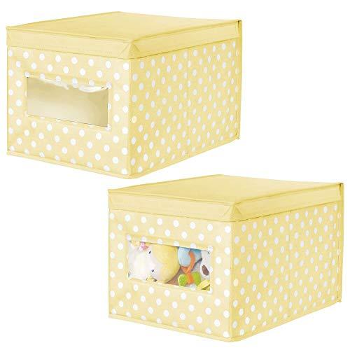 mDesign Juego de 2 Cajas de Tela de Lunares – Caja de almacenaje con Tapa abatible para habitación Infantil – Organizador Infantil apilable de Fibra sintética Transpirable – Amarillo Claro/Blanco