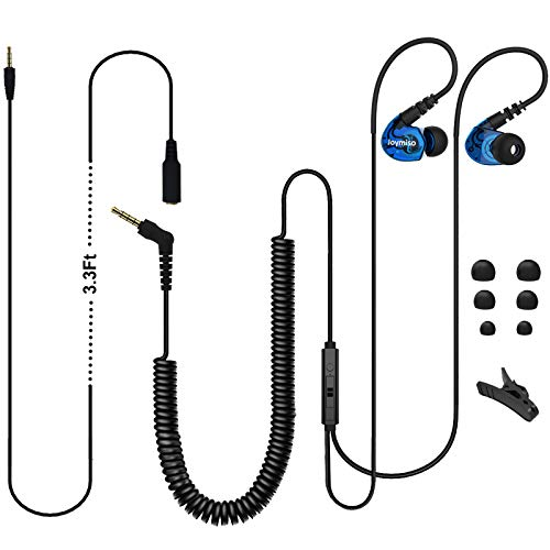 Joymiso Earbuds Headphones with Extra Long Cord Length for Computer Laptop TV with Mic and Volume Control, 12Ft (Coil Wire & Extension Cable) Wired Earphones, Over Ear Buds for Kids Women Small Ears