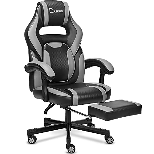 BASETBL Gaming Stuhl,PC Gamer Racing Stuhl Bürostuhl Schreibtischstuhl mit fußstützen Ergonomischer Gaming Sessel、Verstellbare Armlehne Bürostuhl Gaming Stuhl bis 150kg belastbar(Grau)