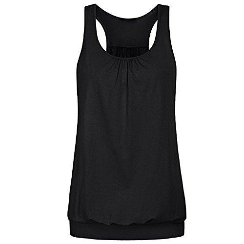 Lazzboy Shirts Damen Frauen Mode Sommer Training Atmungsaktiv Weste Patchwork Rennen zurück Ärmellose Rundausschnitt Flare Pulli Tunika Oberteile Hemd Blusen(Schwarz,2XL)