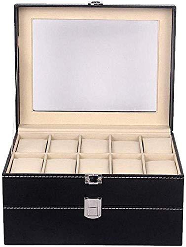 T.T-Q 20 caja de almacenamiento de joyería de caja de reloj de cuero de doble capa Cajas para relojescaja de joyería de regalo de cumpleaños para almacenamiento y visualización 28 * 20 * 16,5 cm