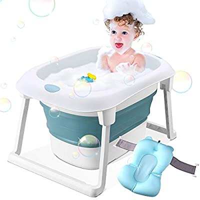 Baby Bathtub, Portable Infant Bath Shower Tub for Girls, Newborn Toddler Bathing Support with Cushion Mat (Blue)