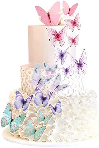 60 Pcs Butterfly Cupcake Toppers Cake Party Cake Decorations Mixed Colour for Birthday Wedding product image