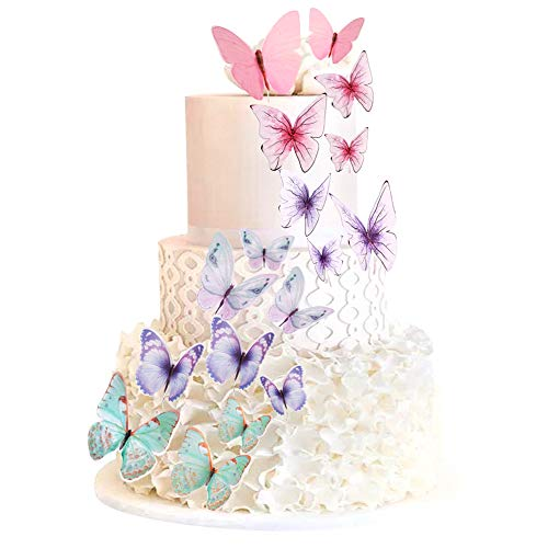 60 Pcs Butterfly Cupcake Toppers Cake Party Cake Decorations Mixed Colour for Birthday Wedding Party Wall Decoration