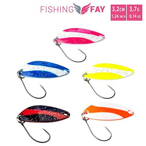 FISHINGFAY zestaw łyżek pstrągów SWING, waga: 3,7 grama, długość: 3,2 cm, przynęty pstrąga, łyżki pstrąga, przynęty na pstrągi, char i okoń