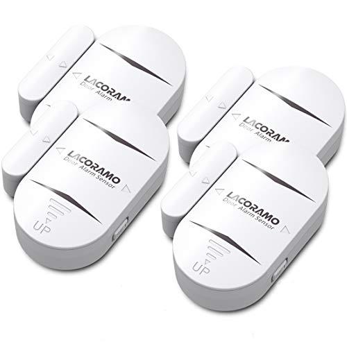 LACORAMO DA-05 Alarma de Puerta y Ventana, Set de 4 Sensor de Puerta Inalámbrico - 130 Db Intensidad Acústica - 4 Modos de Trabajo Alarma De Seguridad Antirrobo de Puerta