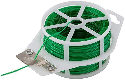 Amagabeli 2.2mm X 50M X 6Pices Attaches de Jardin pour Plantes Twist Cravates avec Cutter Jardin Fil de Cravate pour Jardinage Maison Bureau Vert