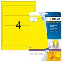 Herma 5096192x 61mmカラーレーザー用紙長方形ファイリングラベルwithラウンドコーナー–マットイエロー( 80ラベル、あたり4シート)