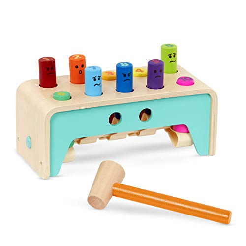 Battat – Wooden Hammer Toy for Kids, Toddlers – Pounding Bench with Pegs and Mallet – Hammering Toy - Colorful Developmental Toy – Pound & Count Bench – 1 Year +