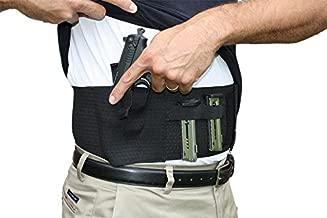AlphaHolster Belly Band Hand Gun Holster - Abdomen Holster - Cross Draw - Any Gun - Any Clothing - Right or Left Hand - Men or Woman (Medium, Black)