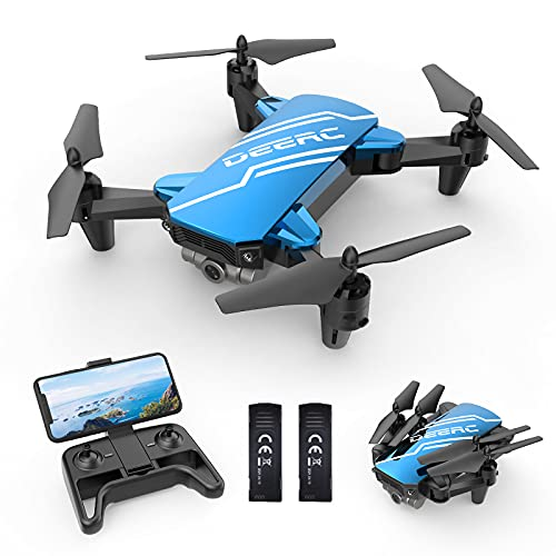 DEERC D20 Mini Drone with Camera for Kids, Remote Control Toys Gifts for Boys Girls with Voice Control, Gestures Selfie, Altitude Hold, Gravity Control, One Key Start, 3D Flips 2 Batteries, Blue