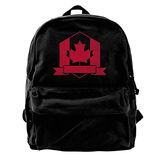 Yuanmeiju Zaino in Tela Canada Maple Leaf Canadian Flag 1 Trend Black Canvas Backpack is Suitable for Students to Travel to School