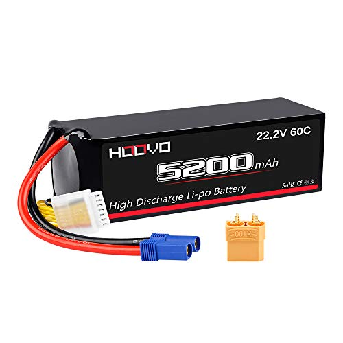 HOOVO 6S 5200mAh 22.2V 60C LiPo Battery with XT90 Connector and EC5 Plug for RC Helicoptor Airplane Quadcopter UAV Drone FPV