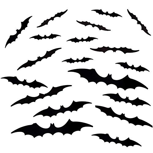 Cosswe Black Bats Wall Sticker Bat, 56pcs Halloween 3D Bats Stickers PVC Black Bats Wall Bat Decals for DIY Home Window Decor Halloween Party Supplies