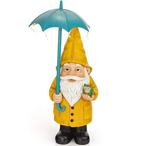 VP Home Rain Slicker Gnome Solar Powered LED Outdoor Decor Garden Light