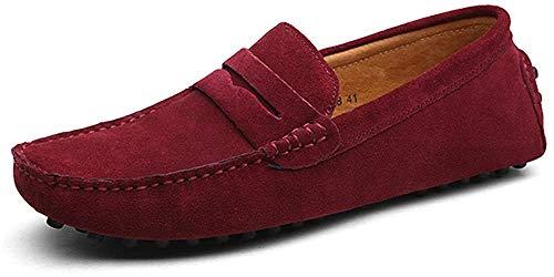 DUORO Herren Klassische Weiche Mokassin Echtes Leder Schuhe Loafers Wohnungen Fahren Halbschuhe (46,Rot)