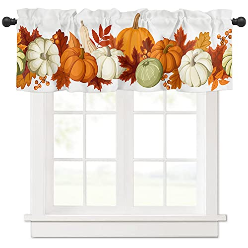 Valance Curtains Rod Pocket 54 x 18 Inch, Fall Harvest Pumpkins Short Curtain for Kitchen Cafe Bedroom Living Room Window, Thermal Insulated Single Panel Decor Valances for Windows, Autumn Maple Leaf