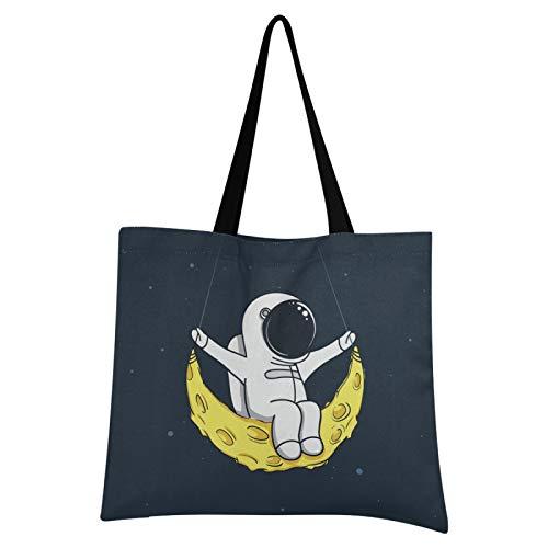 JinDoDo - Bolsa de lona reutilizable con diseño de astronauta y luna