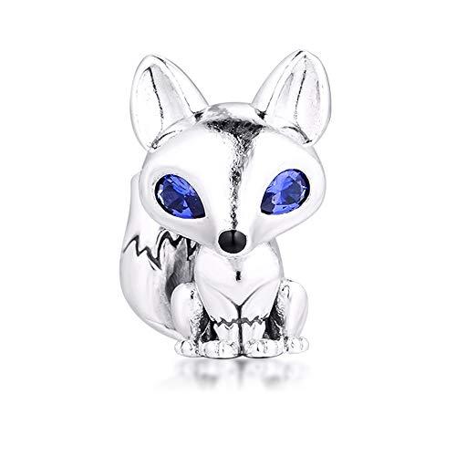 BAKCCI 2020 - Perline in argento 925 con volpe con gli occhi azzurri, per braccialetti Pandora e gioielli alla moda